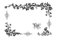 Rose floral frame. Wedding or jubilee theme. Ornamental frame with roses. Solemn floral element for design banner,invitation, leaflet, card, poster and so on Stock Photos