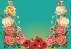 Rose floral half frame pattern Royalty Free Stock Photo