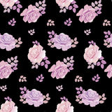 Rose floral pattern on black background. Stock Photography