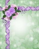 Rose floreali della lavanda del bordo Immagine Stock Libera da Diritti