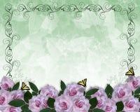 Rose floreali della lavanda del bordo dell'invito di cerimonia nuziale illustrazione di stock