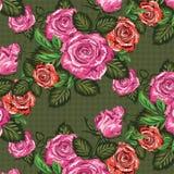 Rose floreali senza cuciture del modello illustrazione vettoriale