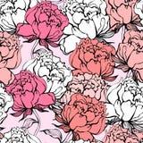 Rose florece el fondo inconsútil stock de ilustración
