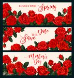 Rose flower banner for greeting card or invitation. Rose flower banner for Mother Day, Spring Holiday and Wedding Invitation design. Festive floral greeting card Stock Photos