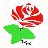 Rose flower. Beautiful red roses with green leaves illustration vector Stock Image