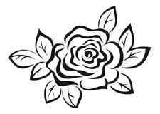 Rose Flower Black Pictogram Stock Photo