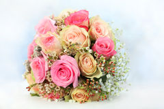 Rose flower bouquet. Rose bouquet with white-blue blurred background Royalty Free Stock Photo