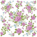 Rose flower and butterfly background pattern. Rose flower Stock Image
