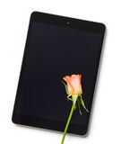 Rose flower and computer tablet Stock Photo