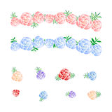 Rose Flower cor-de-rosa e azul da coroa, diadema ilustração stock