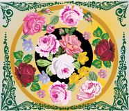 Rose flower decoration in green frame Royalty Free Stock Image