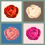 Rose Flower Emblem Set Immagine Stock Libera da Diritti