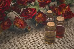 Rose flower essential oil on dry roses background. stock photos