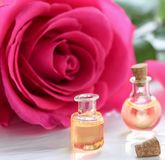 Rose flower and essential oil. Spa and aromatherapy.  royalty free stock images