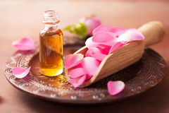 Rose flower and essential oil. spa and aromatherapy. Rose flower and essential oil, spa and aromatherapy Royalty Free Stock Images