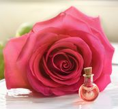 Rose flower and essential oil. Spa and aromatherapy.  royalty free stock photography