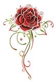 Rose, flower. Filigree and abstract red rose, tattoo style Royalty Free Stock Photos
