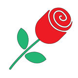 Rose. Flower in flat Style. Rose. Single red rose in flat style vector illustration Royalty Free Stock Photo