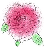 Rose flower. Floral element for greeting cards, invitations, web. Dotted stylized rose flower. Floral element for greeting cards, invitations, web royalty free illustration