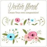 Rose flower floral leaf, branch, border vector part element set illustration Stock Photo