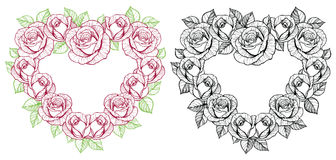 Rose flower heart shape frame Royalty Free Stock Photo