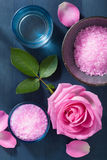 Rose flower herbal salt for spa and aromatherapy Royalty Free Stock Photo