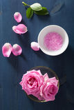 Rose flower herbal salt for spa and aromatherapy Royalty Free Stock Photos