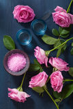 Rose flower herbal salt for spa and aromatherapy Stock Image