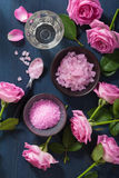 Rose flower herbal salt for spa and aromatherapy Stock Photography