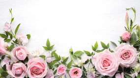 Rose flower with leaves frame. Flat lay rose flower with leaves frame