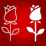 Rose flower line and glyph icon. Valentines day and romantic, love sign vector graphics, a linear pattern on a red background, eps 10 Royalty Free Stock Photography
