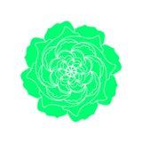 Rose Flower Mandala Pattern verde Logo organico di concetto della pianta di vettore Elemento decorativo scandinavo di progettazio royalty illustrazione gratis
