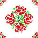 Rose Flower Pattern Seamless con il vettore rosso delle mattonelle delle foglie verdi e dei petali Immagine Stock Libera da Diritti