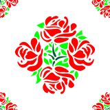 Rose Flower Pattern Seamless with Red Petals and Green Leaves Tile Vector Royalty Free Stock Image