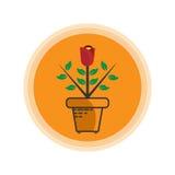 Rose Flower Plants Icon-embleem Royalty-vrije Stock Afbeelding