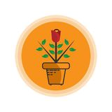 Rose Flower Plants Icon-Logo Lizenzfreies Stockbild