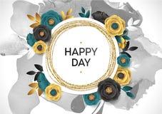 Rose Flower Poster Design Grey Marble Texture Card Plantilla de oro de la bandera del reflejo Hoja de oro del ejemplo del vector Foto de archivo