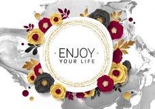 Rose Flower Poster Design Grey Marble Texture Card Plantilla de oro de la bandera del reflejo Hoja de oro del ejemplo del vector Foto de archivo libre de regalías