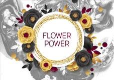 Rose Flower Poster Design Grey Marble Texture Card Plantilla de oro de la bandera del reflejo Hoja de oro del ejemplo del vector Fotografía de archivo libre de regalías