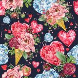 Rose flower and red heart seamless pattern. Diamond crystal luxury background. Valentine day watercolor illustration Royalty Free Stock Images