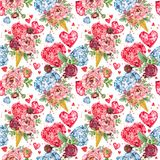Rose flower and red heart seamless pattern. Diamond crystal luxury background. Valentine day watercolor illustration Royalty Free Stock Photos