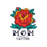 Rose flower, ribbon and word Mom, classic American old school tattoo vector Illustration on a white background. Rose flower, ribbon and word Mom, classic vector illustration