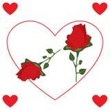 Rose Flower rossa con cuore Immagini Stock Libere da Diritti