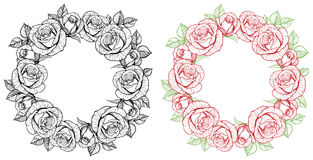 Rose flower round frame Stock Photos