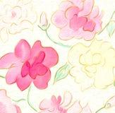Rose Flower sboccia carta da parati senza cuciture dell'acquerello astratto pastello Fotografie Stock