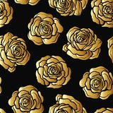 Rose Flower Seamless Pattern Gold Roses On Black Background St Stock Image
