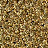 Rose flower seamless pattern. Gold roses on black background. St. Ock vector.rr Royalty Free Stock Photography