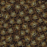 Rose flower seamless pattern. Gold roses on black background. St Royalty Free Stock Image