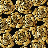 Rose flower seamless pattern. Gold roses on black background. St Stock Photography
