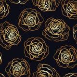 Rose flower seamless pattern. Gold roses on black background. St Stock Images